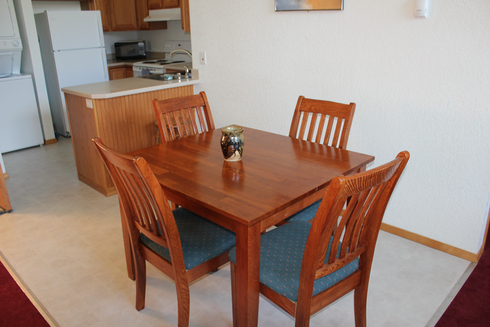 real dining table in room